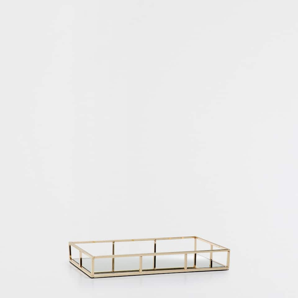 GOLDEN STRUCTURED TRAY WITH A MIRRORED BASE