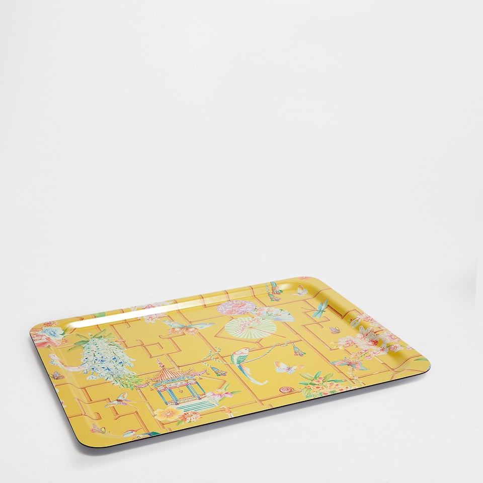 SQUARE TRAY WITH LEAVES AND BIRDS