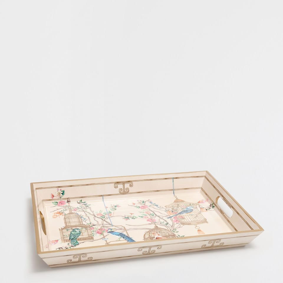LARGE ROMANTIC-PRINT TRAY
