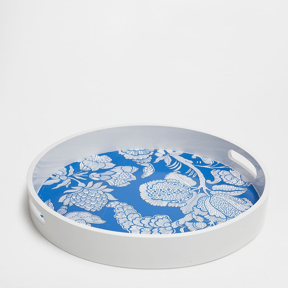 LACQUERED FLORAL ROUND TRAY