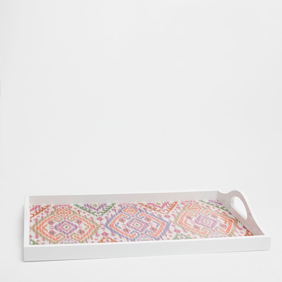 LACQUERED GEOMETRIC-PRINT RECTANGULAR TRAY