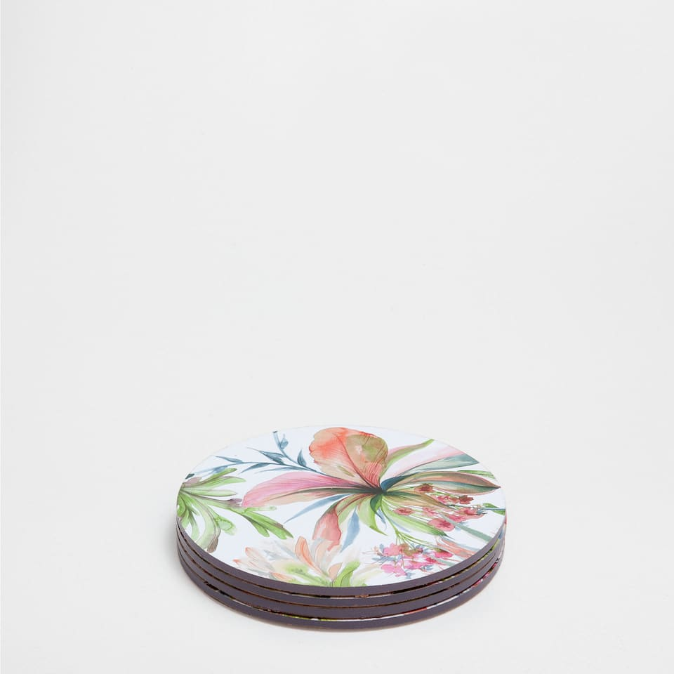 FLORAL-PRINT COASTERS (SET OF 4)