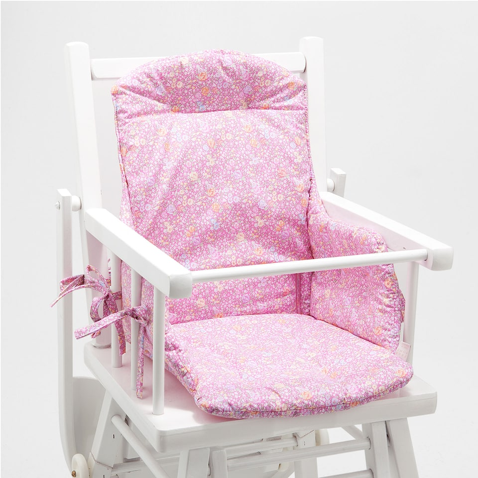 FLORAL PRINT COTTON HIGH CHAIR CUSHION