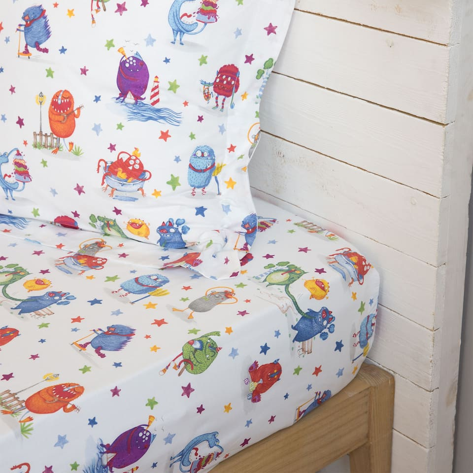 Monster Print Cotton Bottom Sheet
