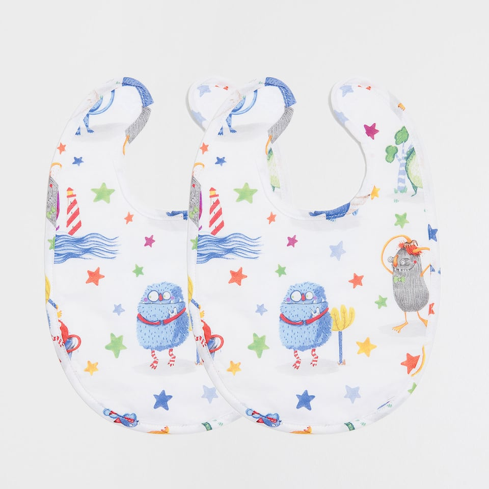 MONSTER PRINT COTTON BIB (PACK OF 2)