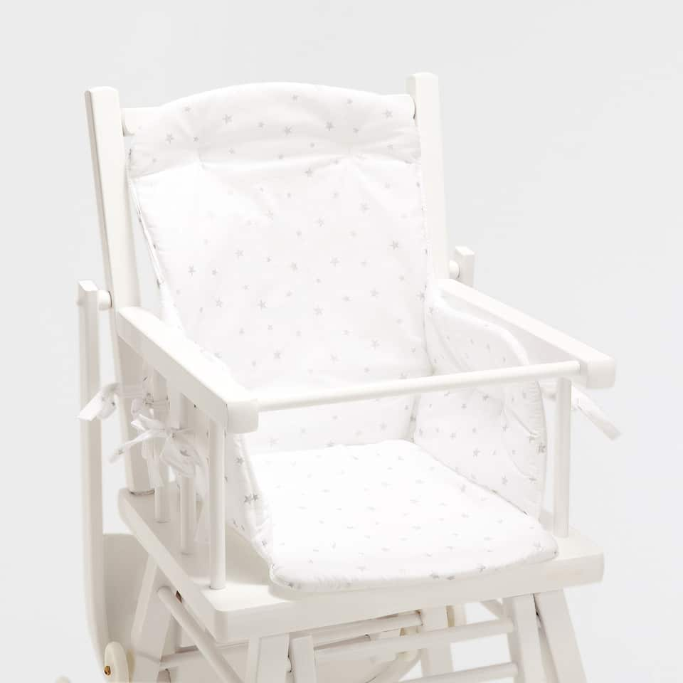 STAR PRINT PERCALE COTTON HIGH CHAIR CUSHION