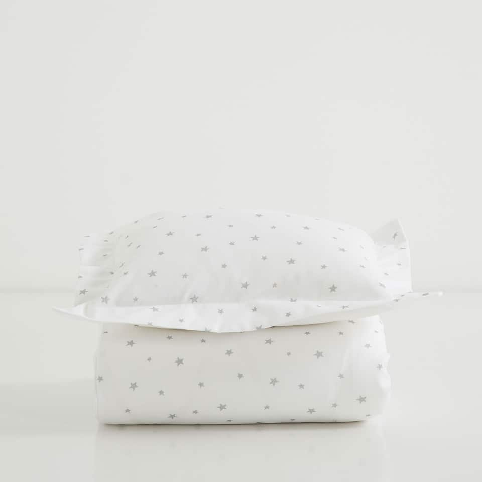 STAR PRINT PERCALE MOSES BASKET AND MINI COT SET