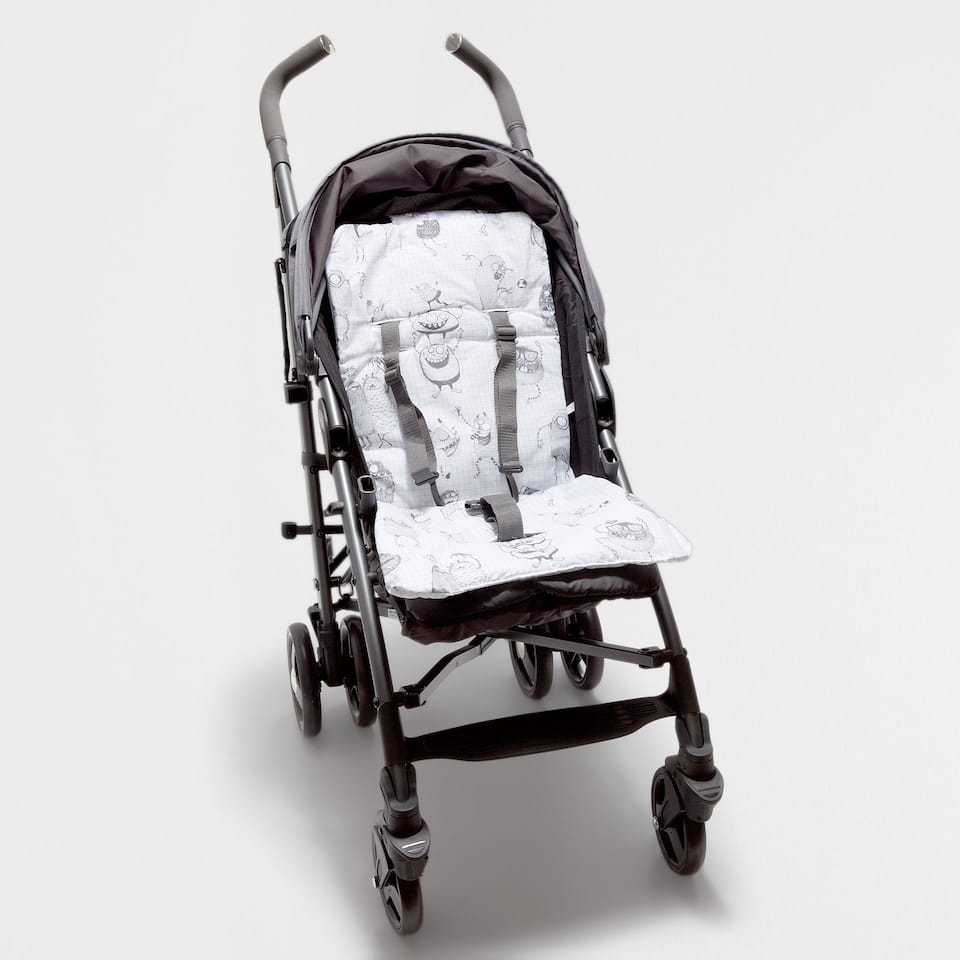 MONSTER PRINT COTTON PUSHCHAIR COVER