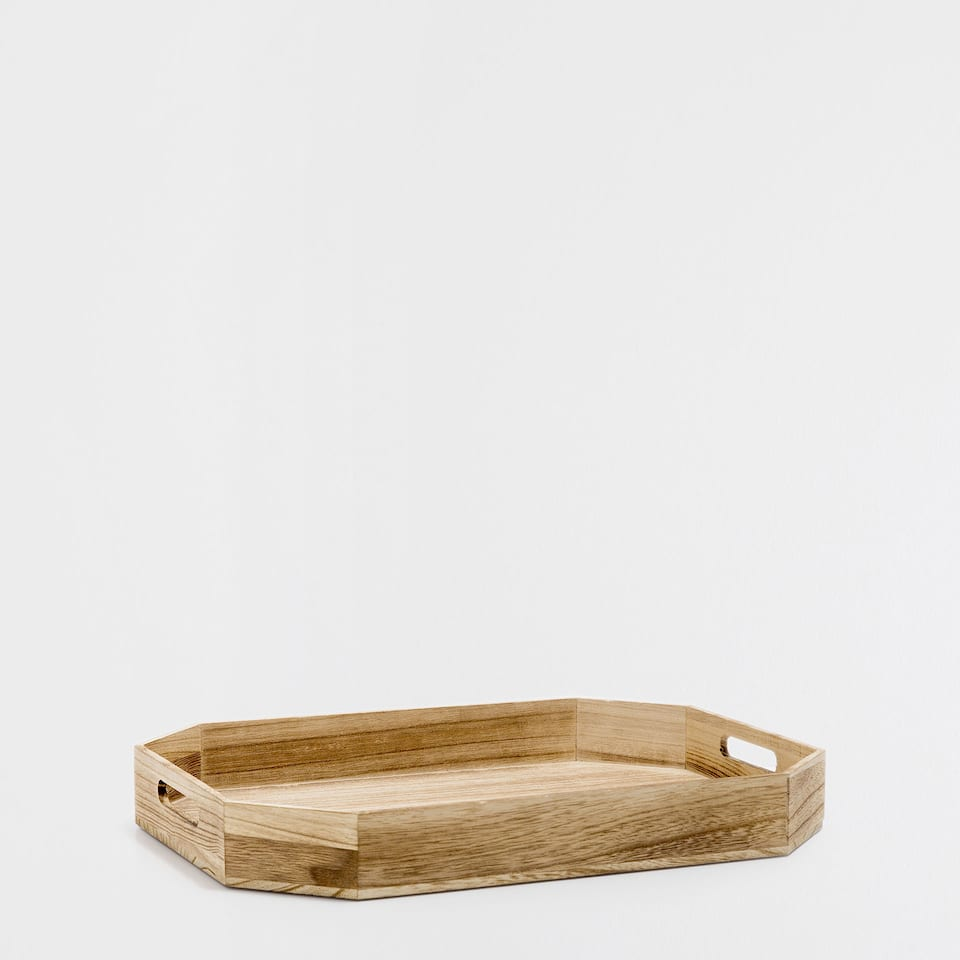 LARGE NATURAL-COLOURED RECTANGULAR TRAY