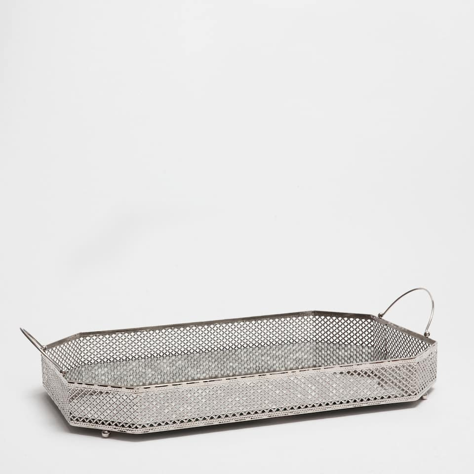LARGE SILVER-PLATED MESH TRAY
