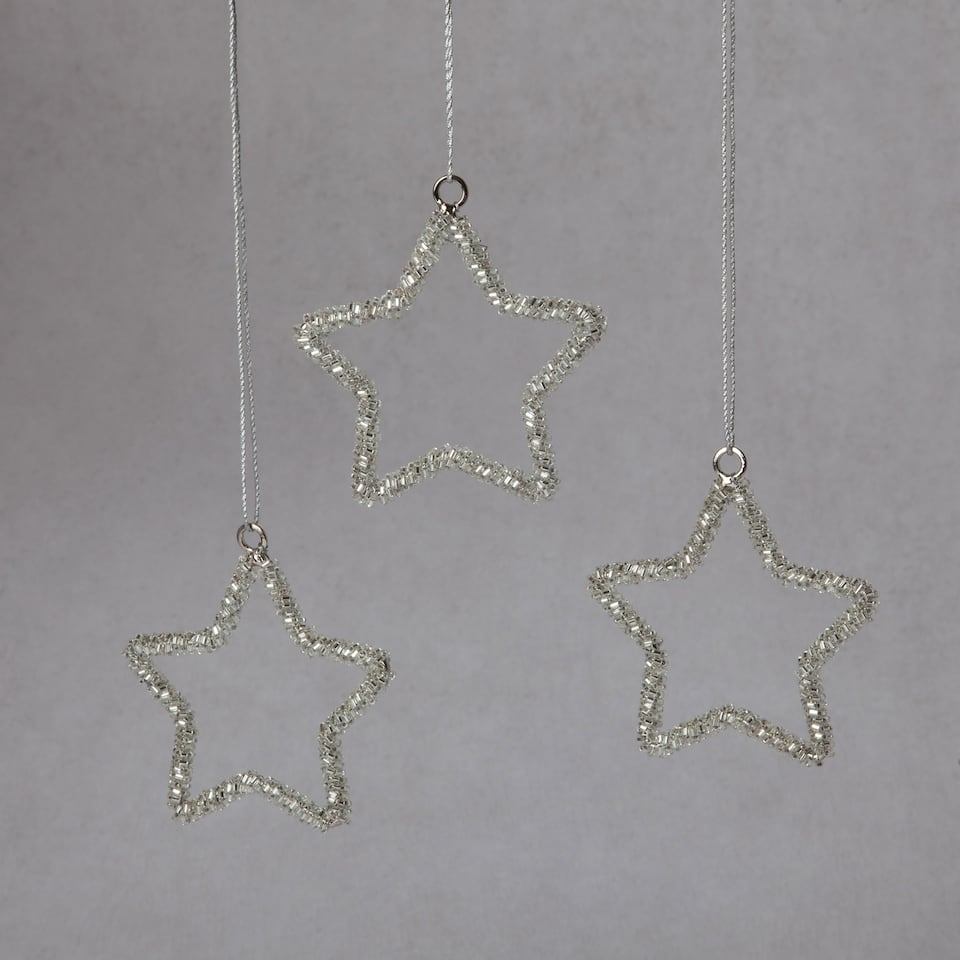 Silver star decorations (set of 3)
