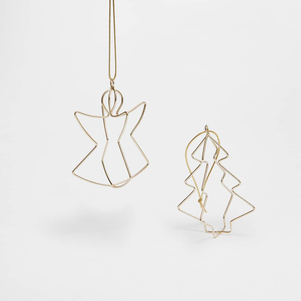 Metallic tree and angel figure decorations (set of 2)