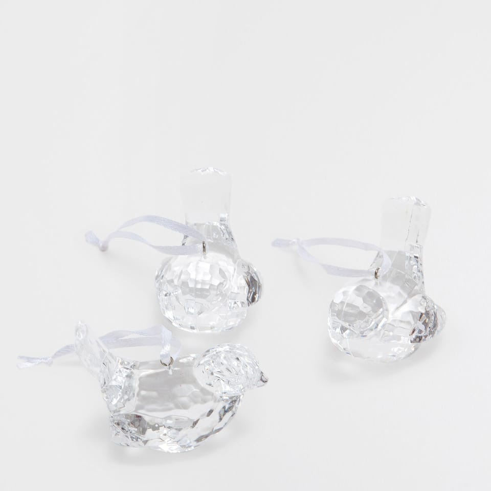 Glass bird-shaped decorations (set of 3)