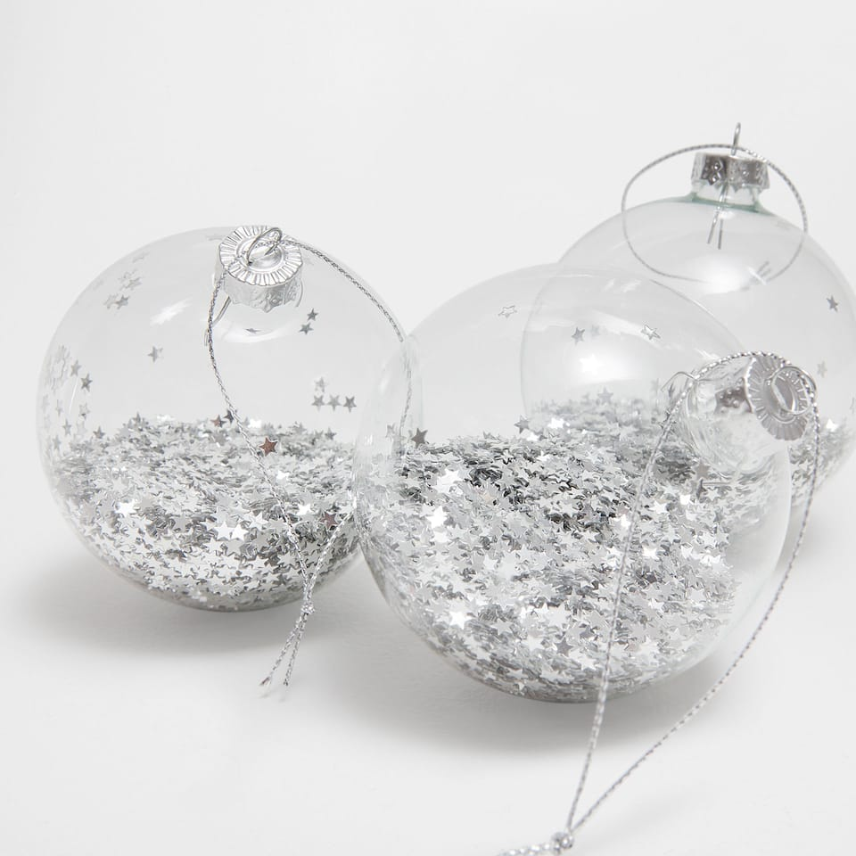 Silver star baubles (set of 3)