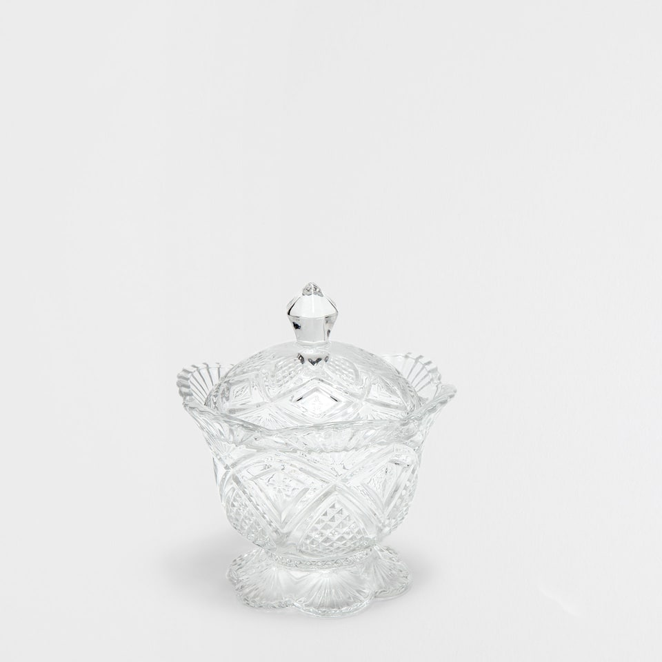DIAMOND PATTERN CUT GLASS SUGAR BOWL