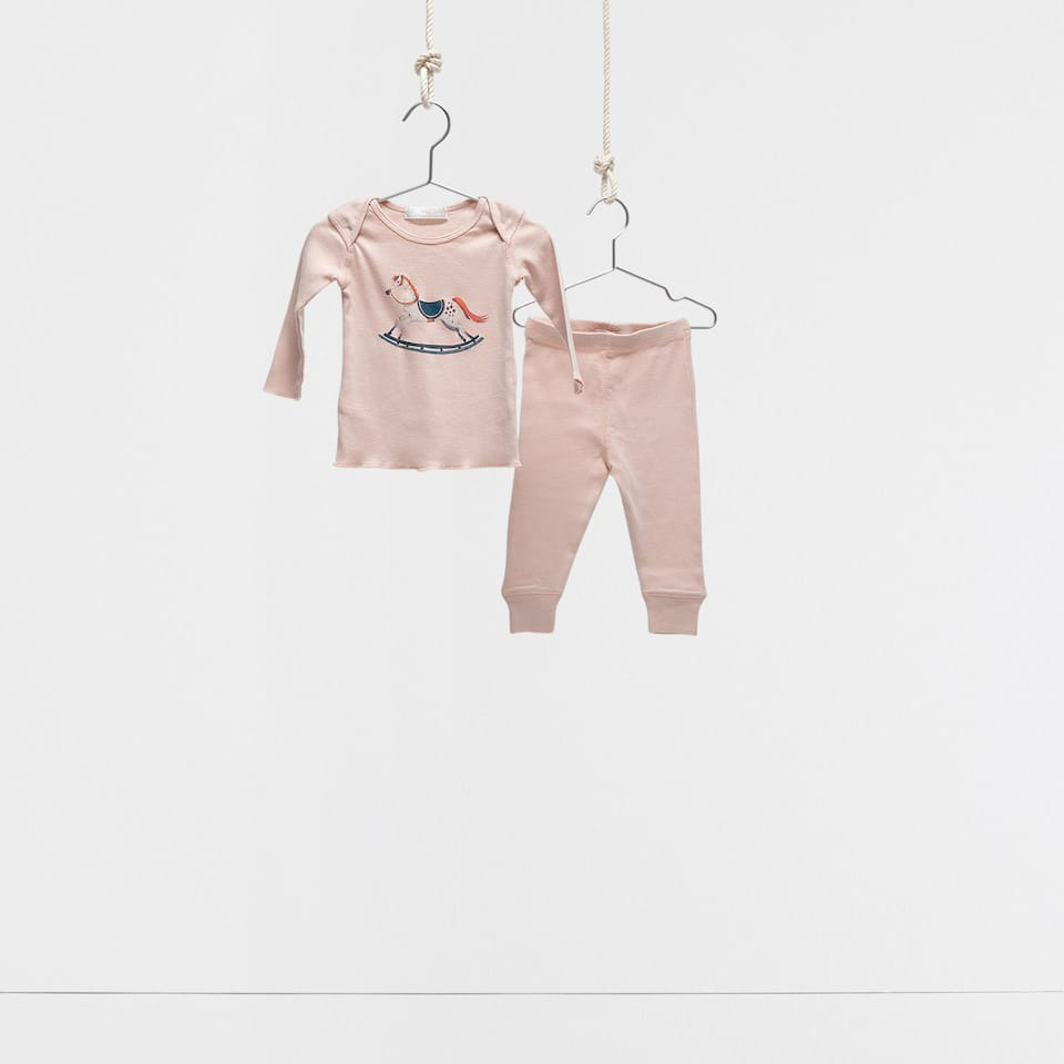 Pink rocking horse mini pyjamas
