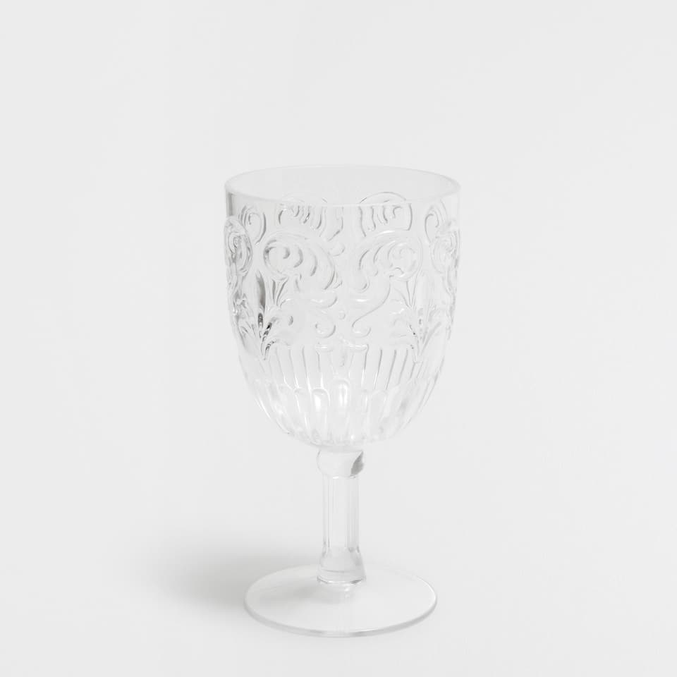 Transparent acrylic raised design Wine Glass