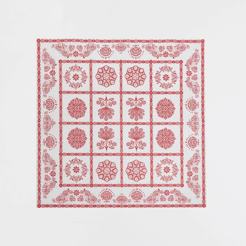 Contrast red print napkins (set of 20)