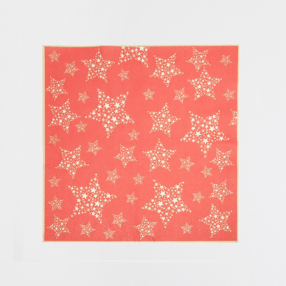 Red napkins with golden stars (set of 20)