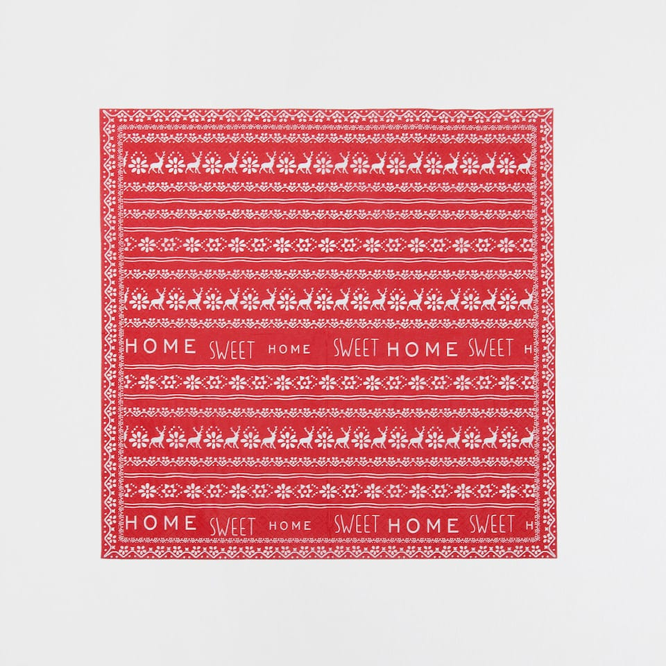 Red napkins with border (set of 20)