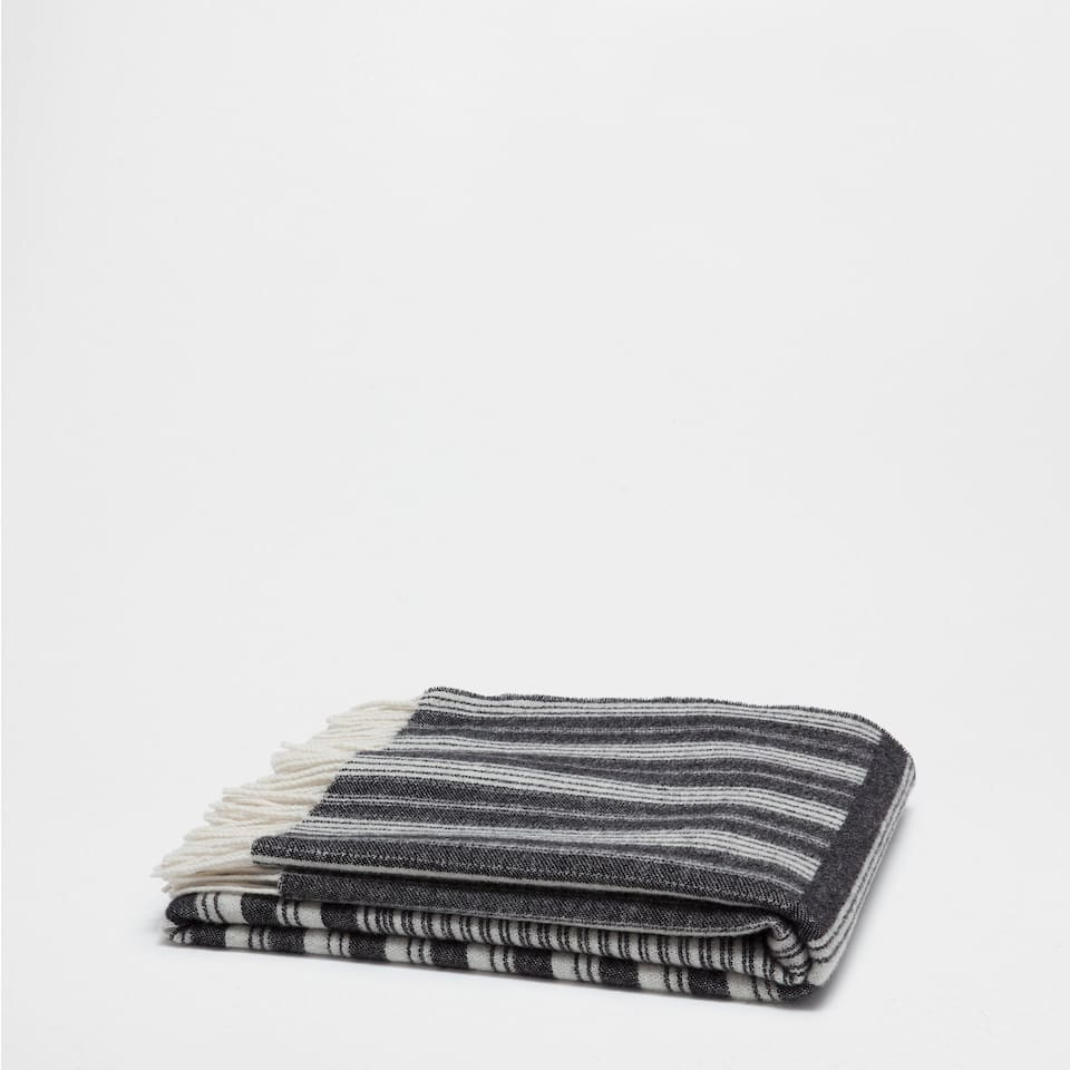 LINES AND CHECKS WOOL BLANKET