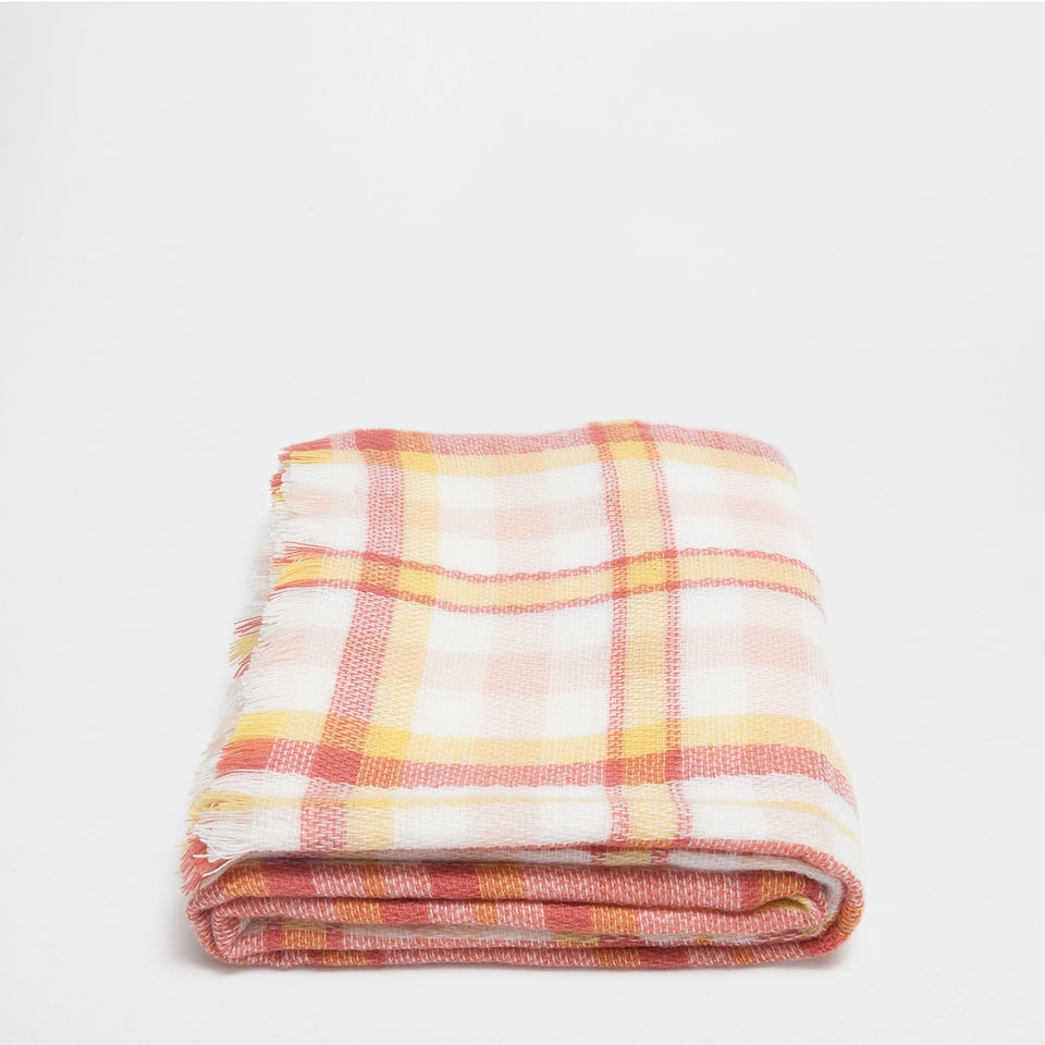 MULTICOLOURED CHECKED ACRYLIC BLANKET