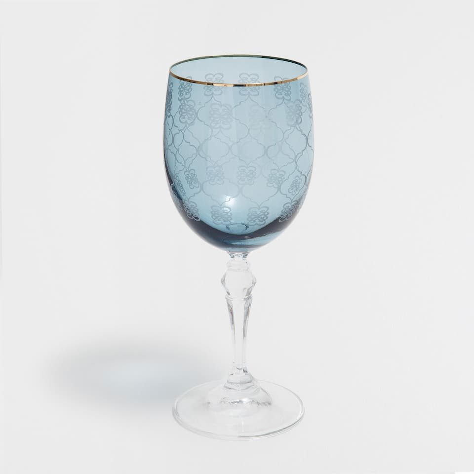 BLUE WINE GLASS WITH A GOLDEN RIM