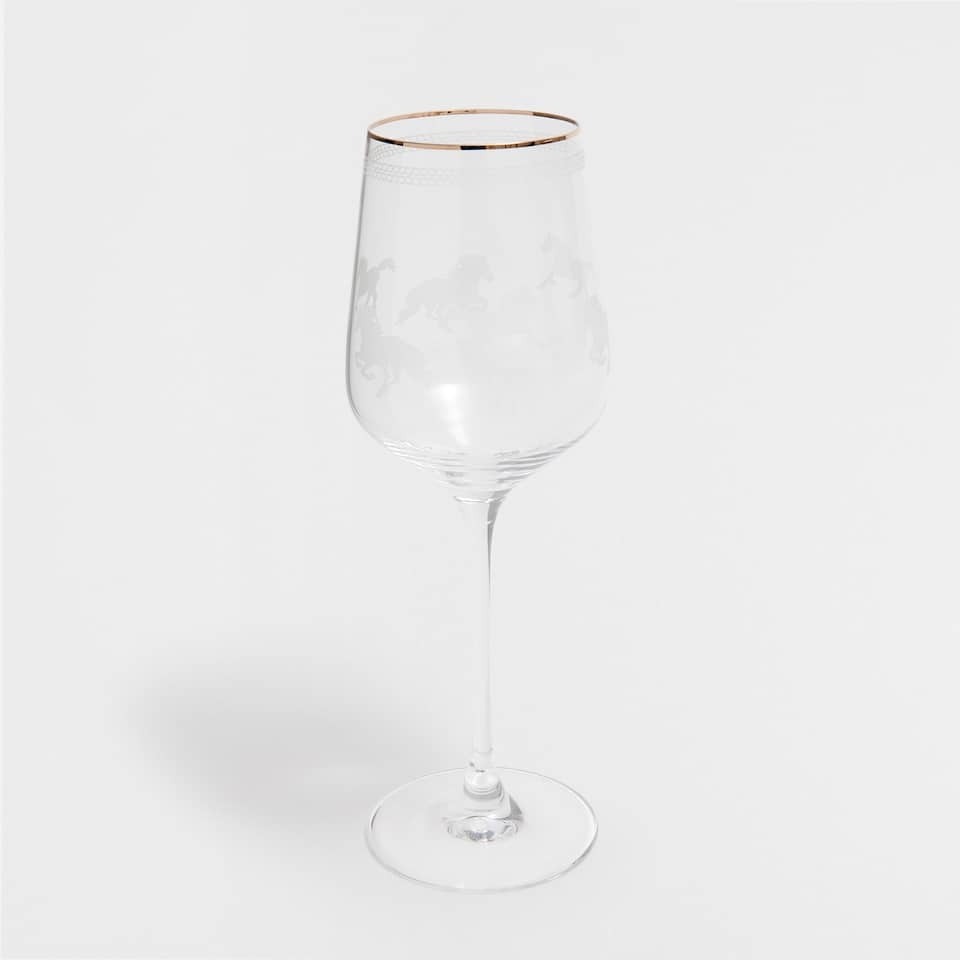 HORSES TALL WINE GLASS