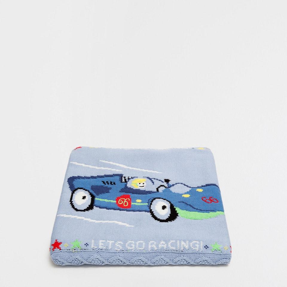 Couverture coton broderie voiture