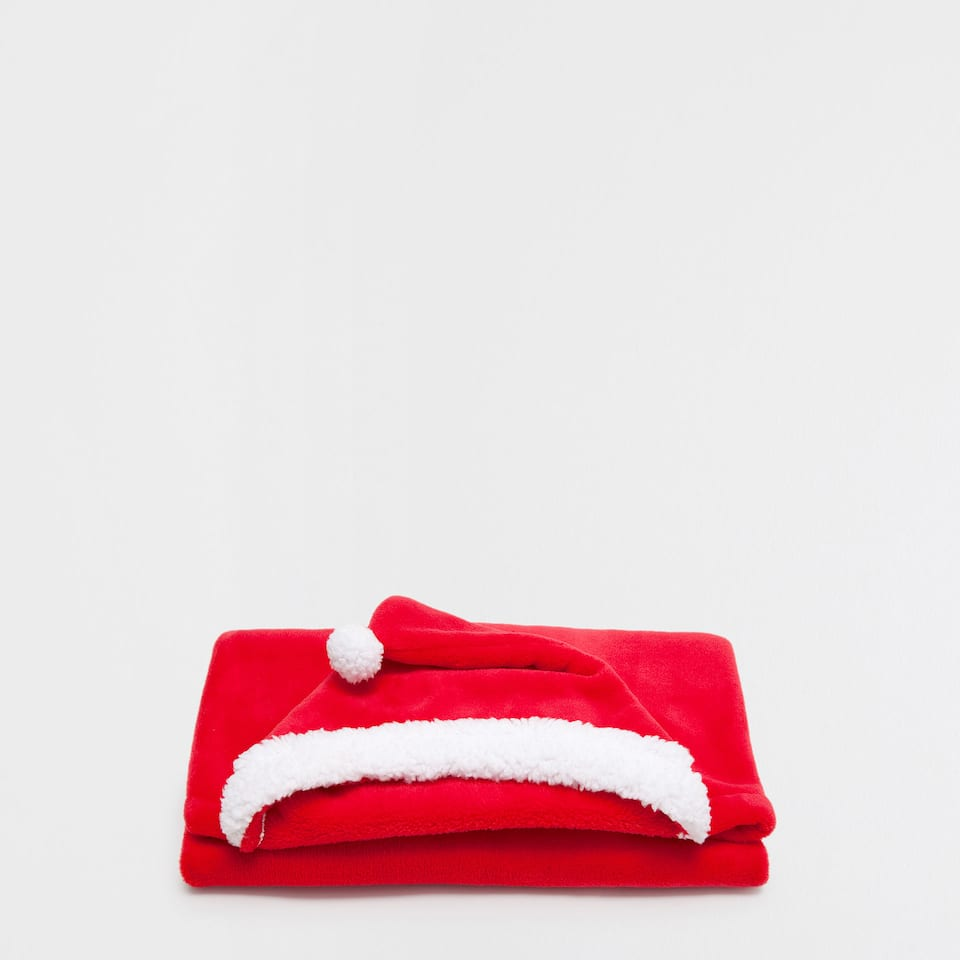 Red blanket with hood