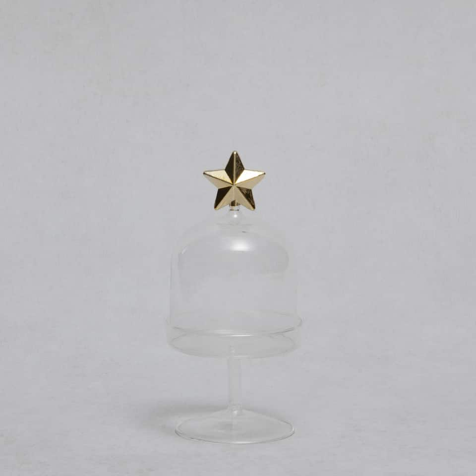 Tall dessert serving dish with golden star