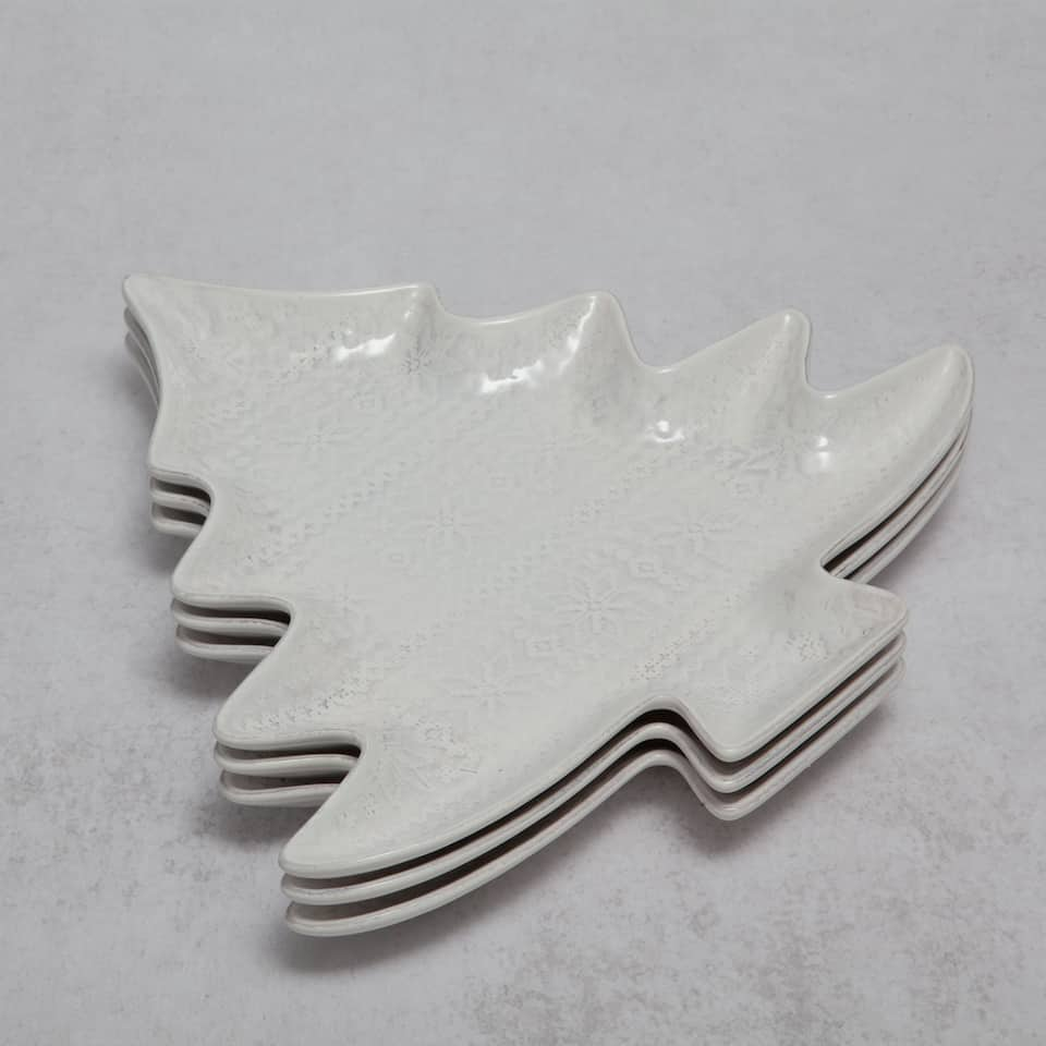 Large white serving dish with tree