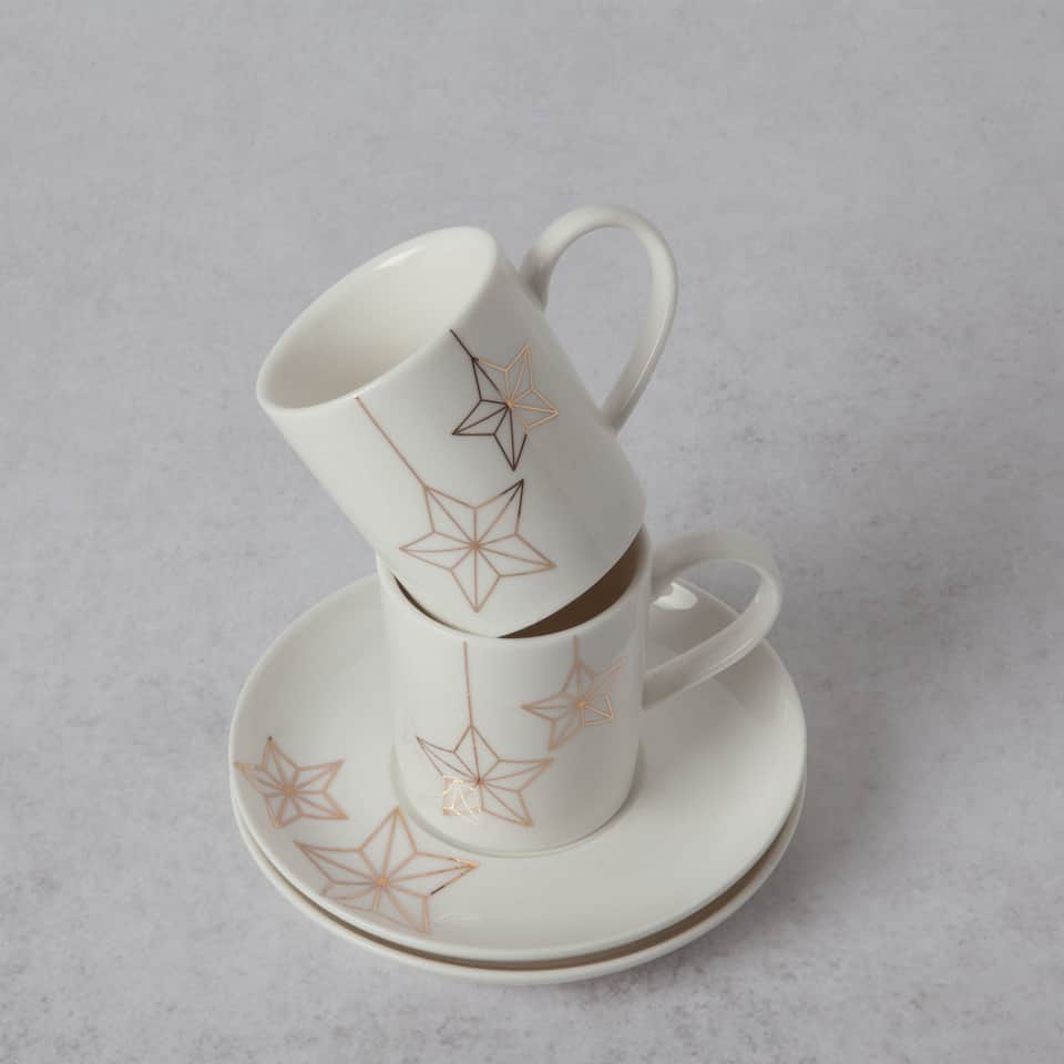 Porcelain stars coffee cup and saucer