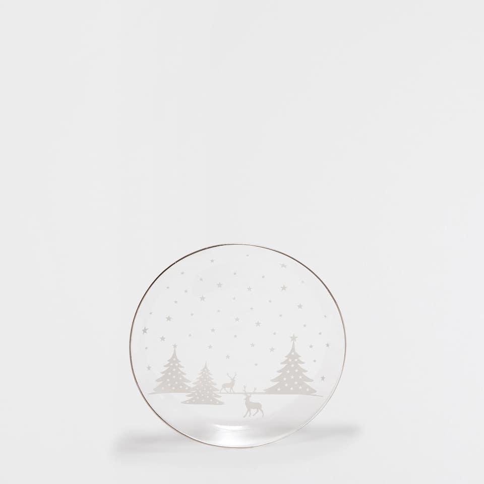 Christmas landscape side plate