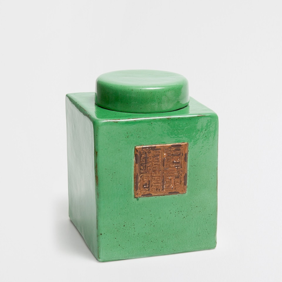 GREEN CERAMIC DECORATIVE JAR