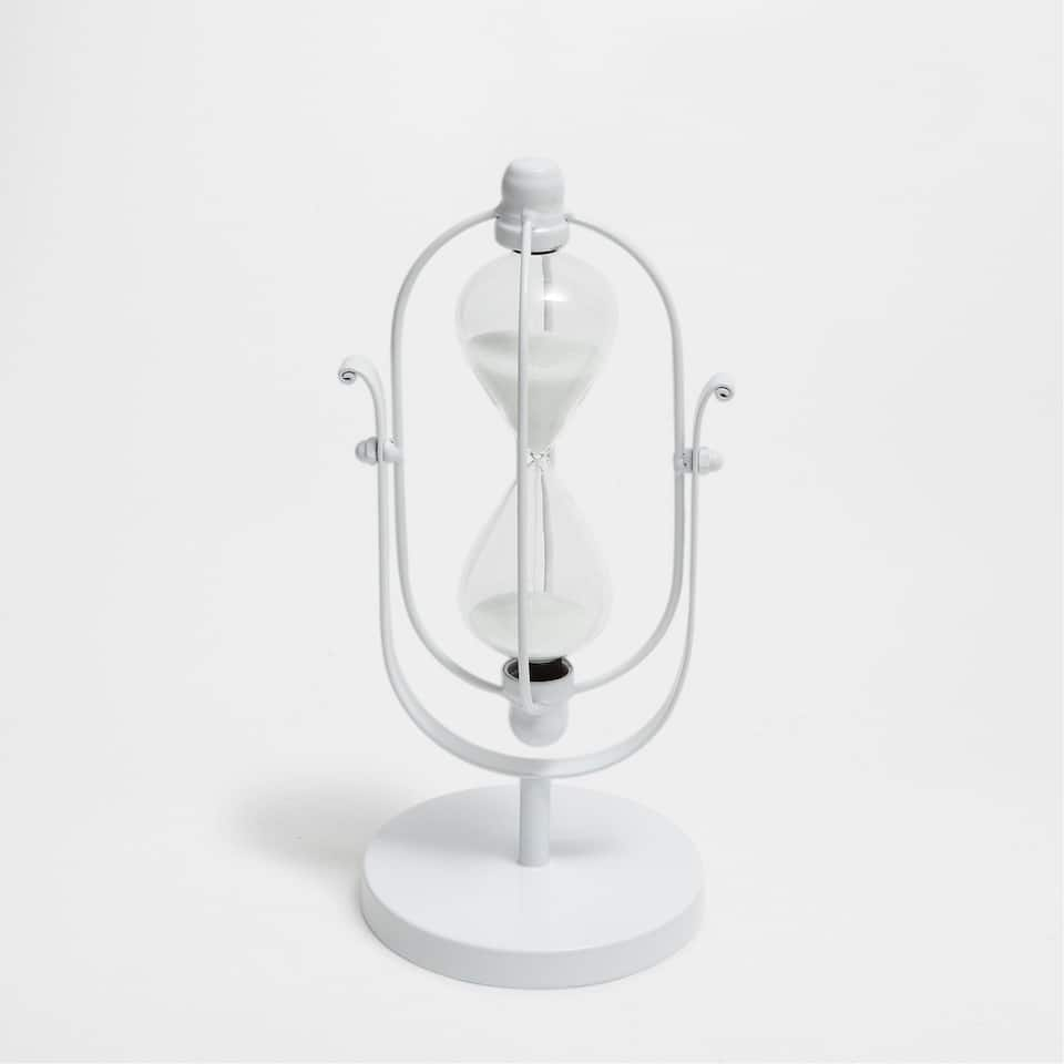 WHITE METAL HOURGLASS