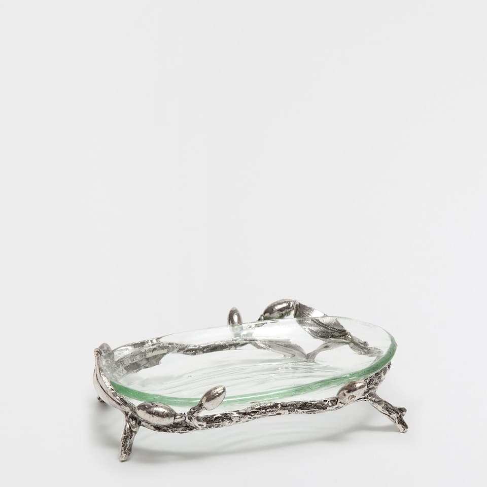 GLASS SOAP DISH WITH A METALLIC BASE