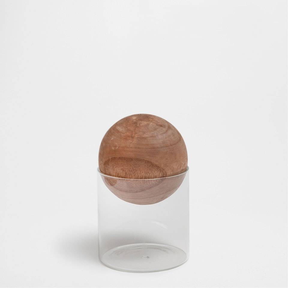 CRYSTAL JAR AND WOODEN LID