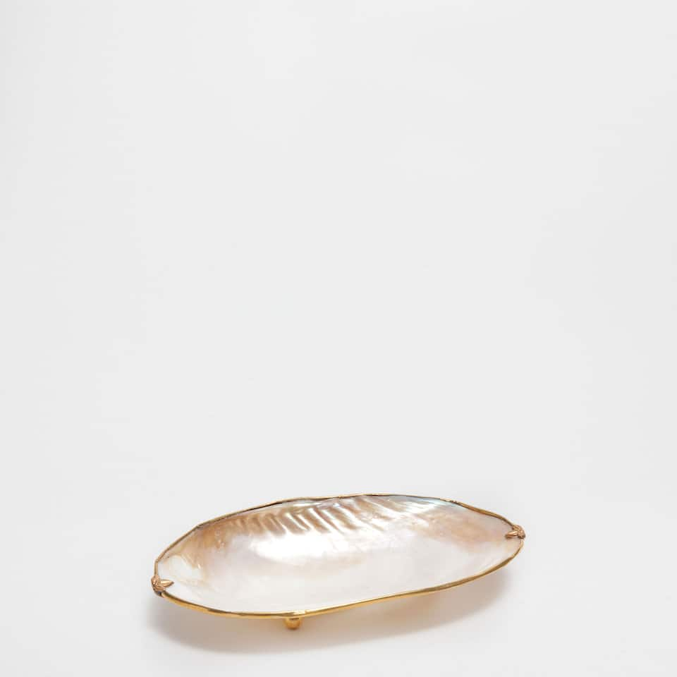 SHELL SOAP DISH WITH A METALLIC EDGE