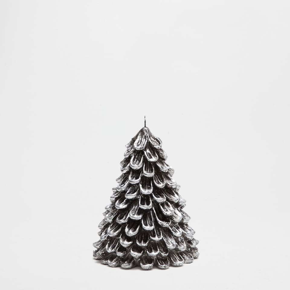 Silver fir tree-shaped candle