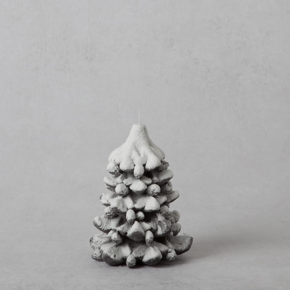 Snowy fir tree candle