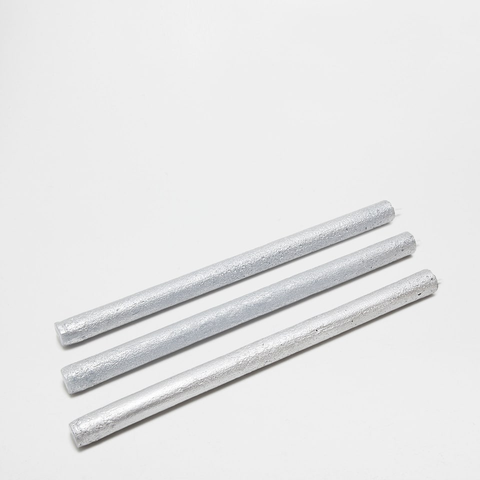Tall silver candles (set of 3)