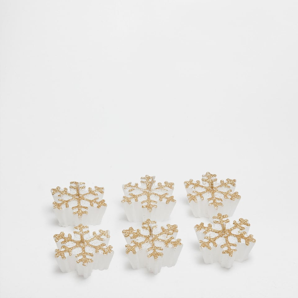 Snowflake-shaped candles (set of 6)
