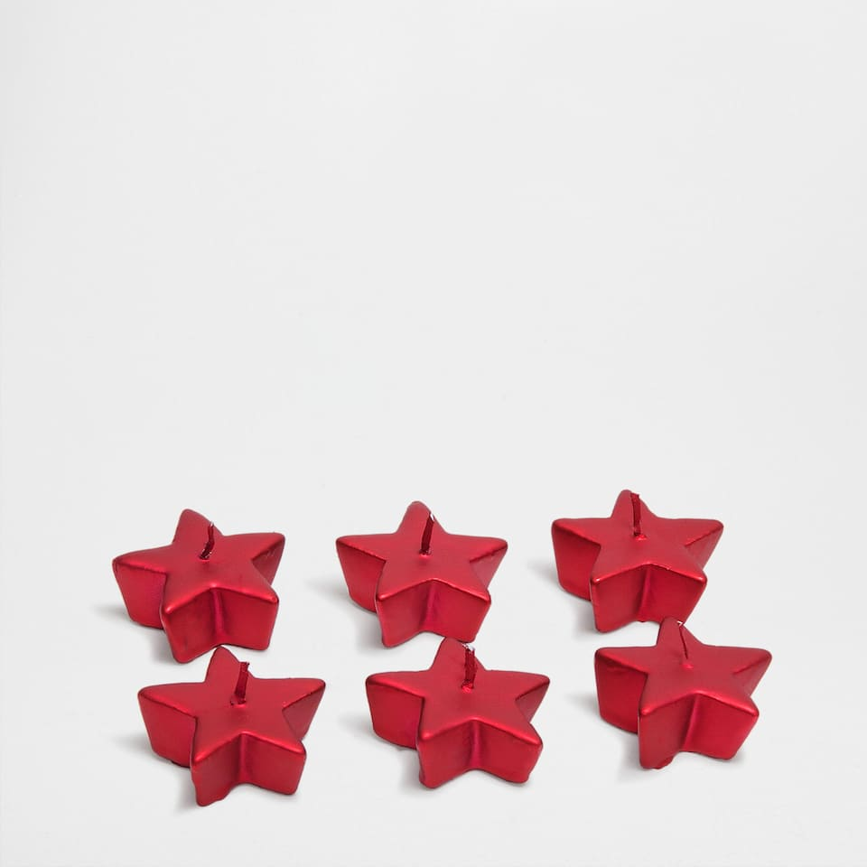 Red star-shaped candles (set of 6)