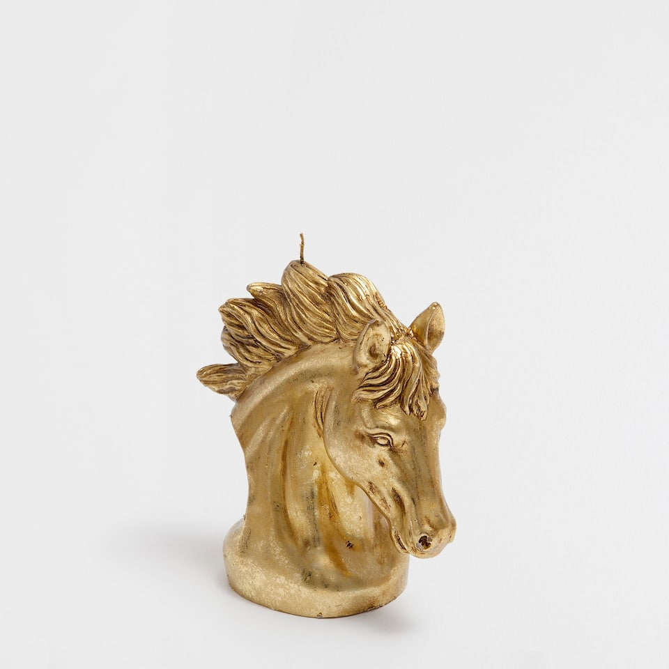 SMALL GOLDEN HORSE CANDLE