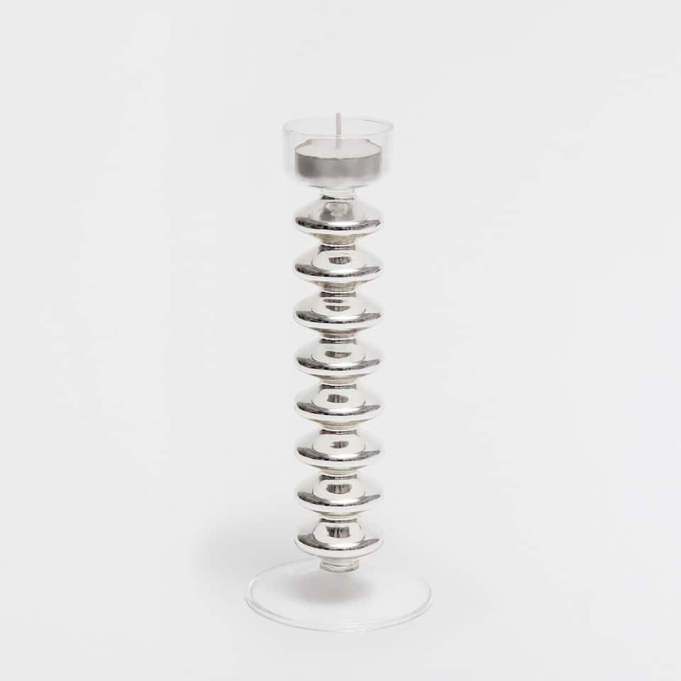 Tall mercurized effect tealight holder