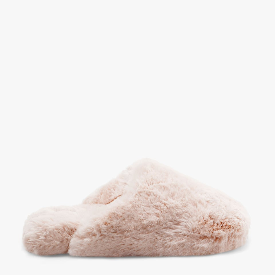 FAUX FUR WEDGE SLIPPERS