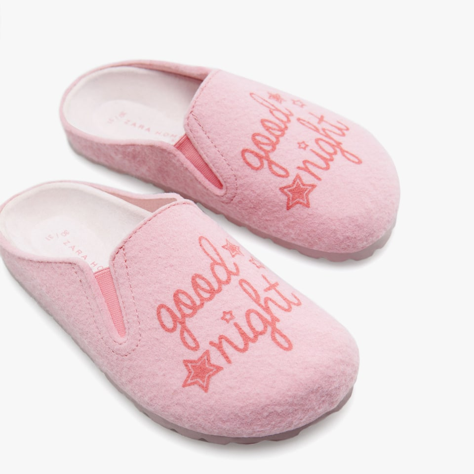 GIRL'S 'GOODNIGHT' FELT MULE CLOG SLIPPERS