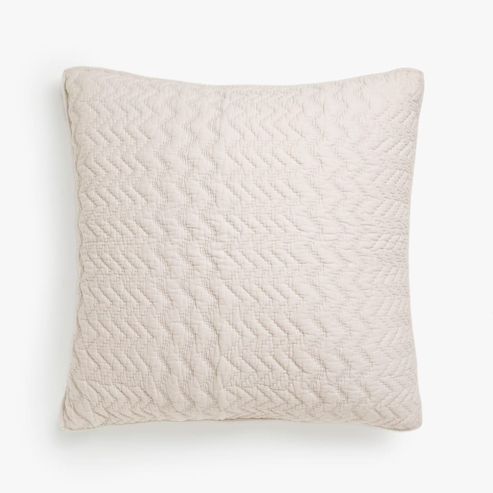 WAVY COTTON CUSHION COVER WITH SOLID-COLOURED EDGE