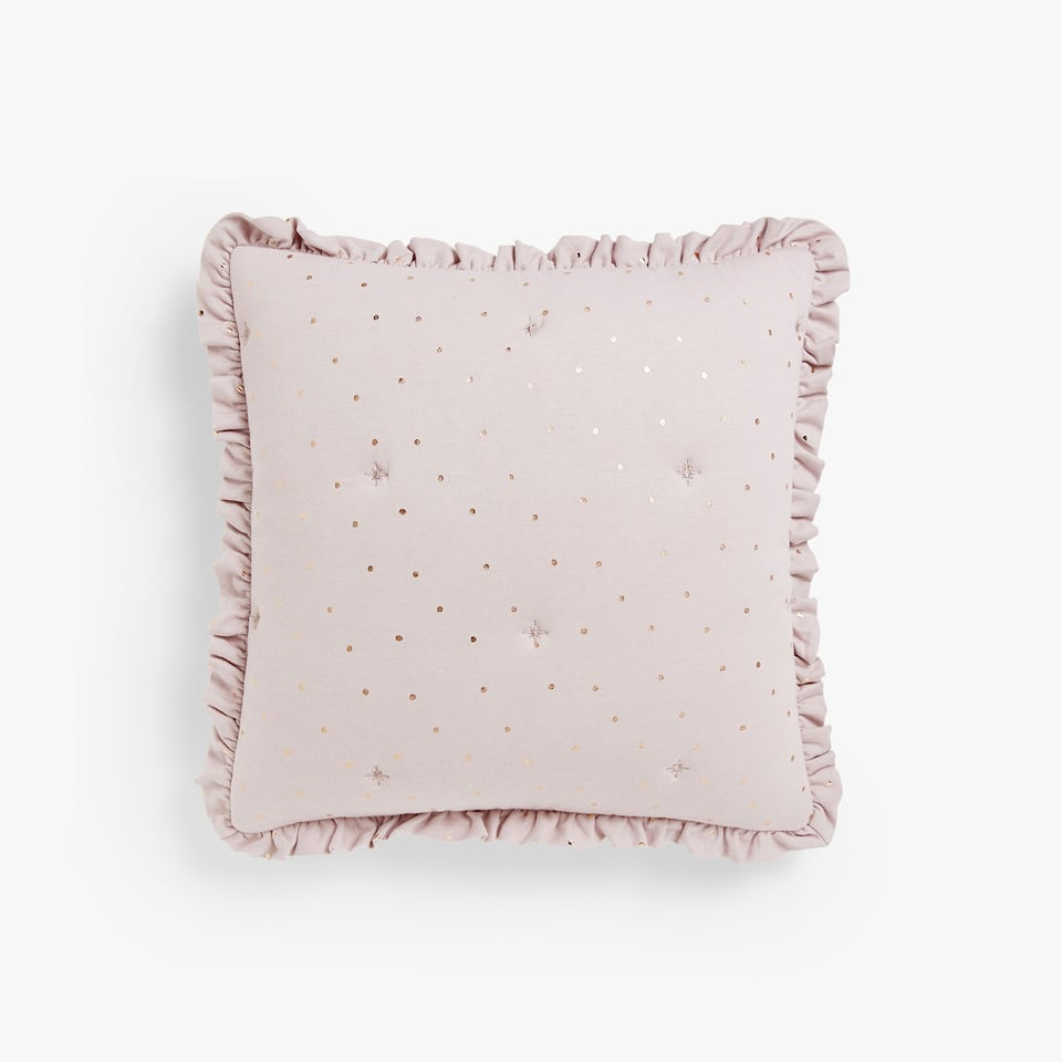 EMBROIDERED CUSHION COVER WITH METALLIC POLKA DOTS AND FRILL